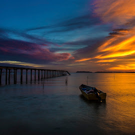 Port Dickson by 3rd eye Monster - Landscapes Sunsets & Sunrises ( canon6d, sunset, sea, canon24-105mm, boat )