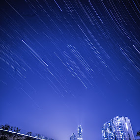 Star and River by Anthony Lau - Landscapes Starscapes ( water, building, reflection, pwcstars, apartment, orion belt, astronomy, city, night, star trail, town, light, river )