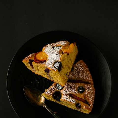 Blueberry Peach Greek Yogurt Cake