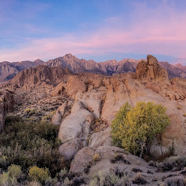 Alabama Hills Dawn by Jim Downey - Instagram & Mobile iPhone ( lone pine, sierra nevada range, iphone with moment lens, mt. whitney in the distance, pano mode, alabama hills dawn )