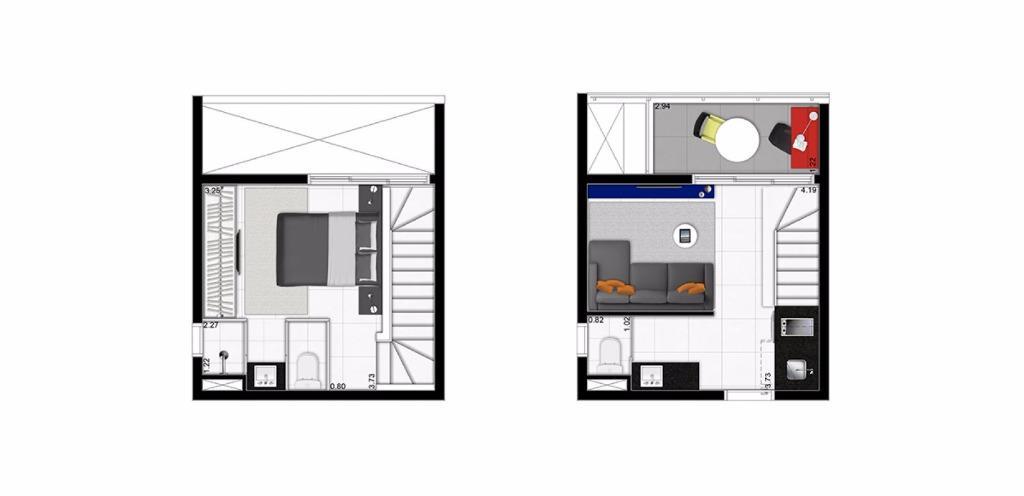 Planta Duplex de 42 m²