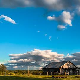 Farm life by Matt McEuen - Landscapes Prairies, Meadows & Fields ( clouds, field, farm, sky, landscapes, kentucky,  )