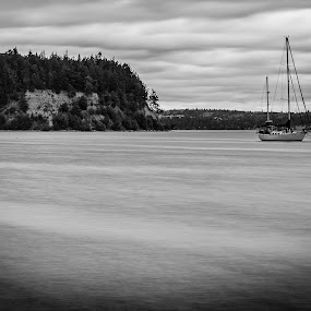 Ghost Ship by Scott Wood - Black & White Landscapes ( water, washington, hood canal, ship, sea, boat, island,  )