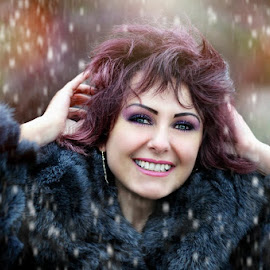 Smile by Alexandru Tache - People Portraits of Women ( love, sexy, winter, tree, wood, woman, outdoor, snow, wildlife, forest, nikon, smile, light, eyes )