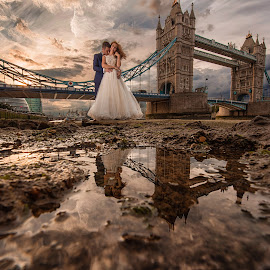 When in London by Marius Igas - Wedding Bride & Groom ( amazing, love, reflection, sky, london, wedding, bridge )