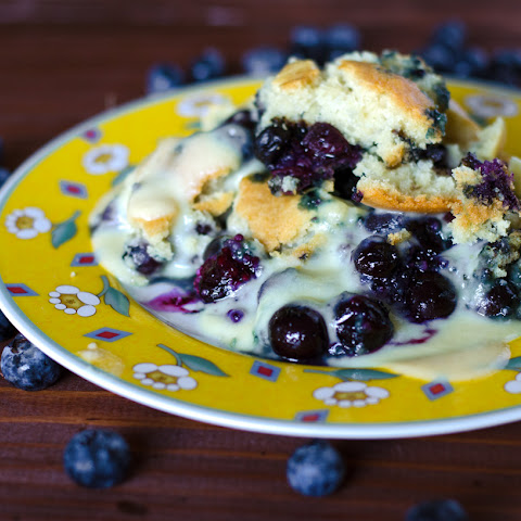 Blueberry Cobbler with Cinnamon Whiskey Crème Anglaise