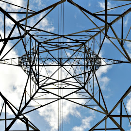 Inside High Voltage Tower by Leise Wease  Photography - Buildings & Architecture Other Exteriors ( abstract, structure, tower, electricity, tall,  )