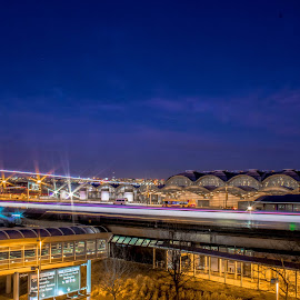 Landing by Dale Youngkin - Buildings & Architecture Public & Historical ( airport, national airport, light trails, washington dc, night, transportation )
