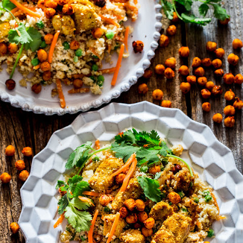 Indian Cauliflower Fried Rice with Chicken and Roasted Chickpeas