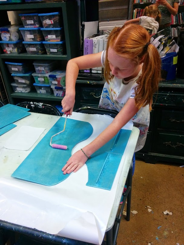 Working on the pieces for her 'American Girl Doll' trundle bed