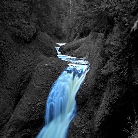 Colorfall by Kellie Prowse - Landscapes Waterscapes ( michigan, selective color, blue, waterfall, up )