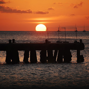 Sundowner @ the Jetty by Angeline JoVan - Novices Only Landscapes ( orange, sunset, ocean, jetty, sun, silhouette,  )