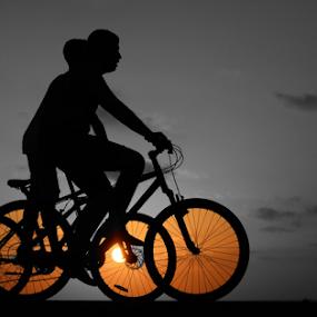 Riding at sunset by Yuval Shlomo - Sports & Fitness Cycling ( riding, sunset, cycling, sports )