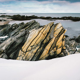 Layers by Annette Nordlinder - Nature Up Close Rock & Stone ( layers, sea, grey, rock, yellow, arctic, stripes, formation,  )