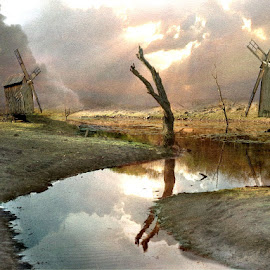The Dale of the Windmills by Bjørn Borge-Lunde - Digital Art Places ( clouds, waterscape, sunset, sunshine, landscape, windmills, river )