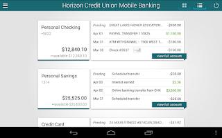 Screenshot of Horizon Mobile Banking
