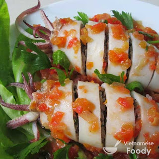 Stuffed Squid with Ginger Lime Dipping Sauce (Muc Nhoi)