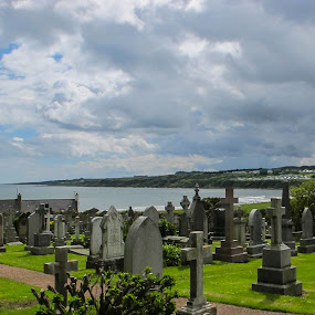 St. Andrews Cemetery by Judy Smith - Landscapes Cloud Formations ( clouds, tombstones, scotland, cemetery, storm )