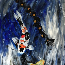 Koi Fish by Anika McFarland - Painting All Painting ( koi fish, acrylics, acrylic, koi, painting )