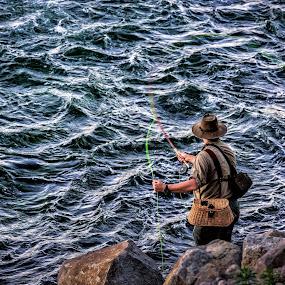 Snake River Fisherman by Robert Golub - People Street & Candids