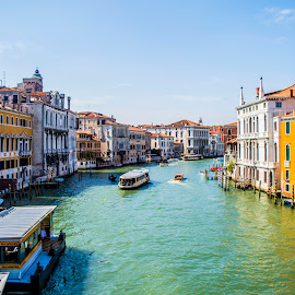 Grand Canal in Venice by Ivana Kreko - Landscapes Travel ( gondola, sky, church, blue, venice, sea, boat, italy )