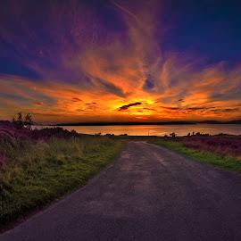 island sunset by Alan Cawley - Landscapes Sunsets & Sunrises ( water, sky, night, landscape, sun )