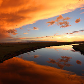 Red at Night by Kirby Hornbeck - Landscapes Sunsets & Sunrises ( clouds, sunrises, sunsets, wyoming, reflections, landscapes, rivers )