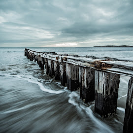 Jetty by Matt Secombe - Landscapes Beaches ( clouds, water, wood, jetty, beach, landscape, colour, blue, australia, movement, tide, perspective, leadinglines, longexposure )