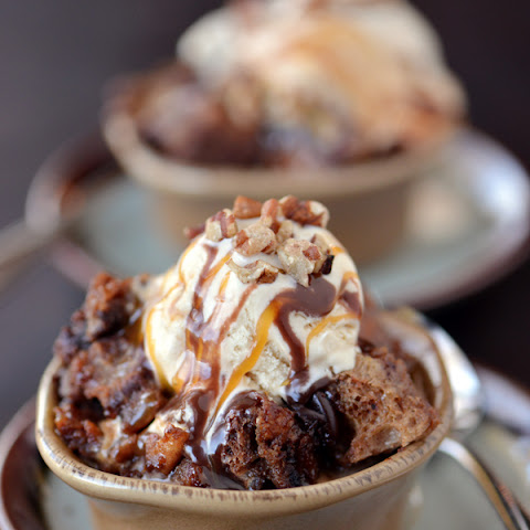 Slow Cooker Chocolate Turtle Bread Pudding