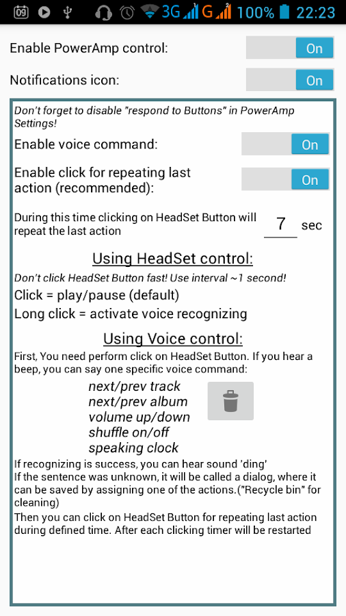 PowerAmp HeadSet Voice Control Screenshot