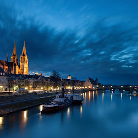 Danube in Regensburg by Radek Lauko - City,  Street & Park  Night ( regensburg, ship, reflections, cathedral, germany, donau, dusk, danube, river )
