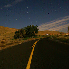 Red Mountain Road by Kevin Sullivan - Landscapes Deserts ( washington, benton city, desert, night, road )