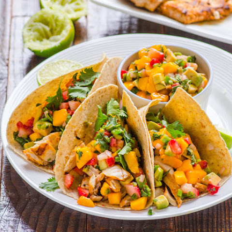 Fish Tacos with Strawberry Mango Salsa