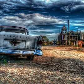 Old Studebaker by Chris Cavallo - Transportation Automobiles ( clouds, studebaker, old car, maine, retro, rusty, rust, antique, decay, abandoned )