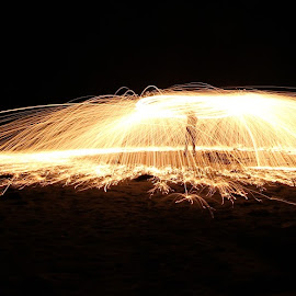 Playing with fire by Gill Fry - Abstract Fire & Fireworks ( light painting, steel wool, sparks, light, fire,  )