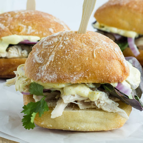 Turkey, Cilantro Sliders with Curried Mayonaise
