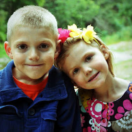 Sibling Love by Kim Price - Babies & Children Child Portraits ( picture day, little sister, big brother, smiles for mom, siblings )
