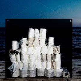 Toiletpaper by Staffan Håkansson - Digital Art Things ( water, toiletpaper, sky, horizon, rapsbollen, dock )