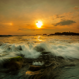 Centerfold by Choky Ochtavian Watulingas - Landscapes Sunsets & Sunrises ( sky, waves, sunset, moss, cloud, beach, motion )