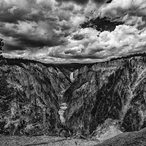 Grand Canyon of Yellowstone by Zach Boudreaux - Black & White Landscapes ( clouds, yellowstone, black and white, grand canyon )