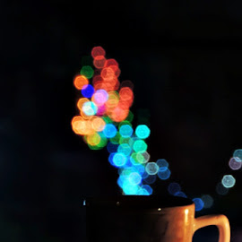 Smoke by Pritha Gupta - Abstract Light Painting ( abstract, macro, light painting, coffee cup, bokeh )