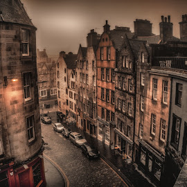 Victoria Street, Edinburgh by Adam Lang - City,  Street & Park  Neighborhoods ( street, victoria street, edinburgh, scotland, fog )