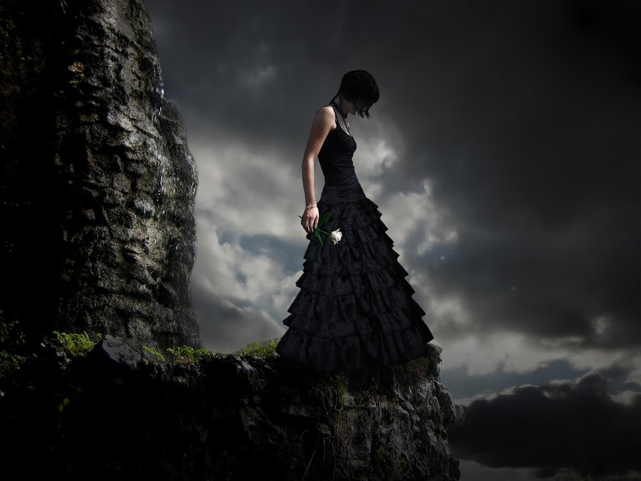 goodbye by Delia Galhotra - Digital Art People ( clouds, rose, sky, digiphotography, nature, woman, cliff, landscape, digital, black )