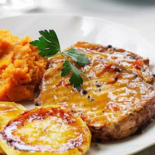 Grilled Pork with Glazed Apples and Yam Mash