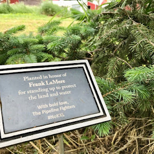 Planted in honor ofFrank LaMerefor standing up to protectthe land and waterWith bold love,The Pipeline Fighters#NoKXL Submitted by @indianz
