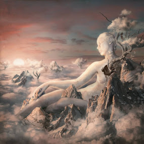 Angel in The Sky by Stefan Bechir - Illustration Sci Fi & Fantasy ( fantasy, clouds, sky, illustration, art, rock, people, women, design )
