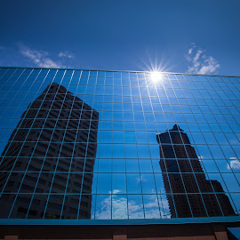 Summer glass  by Mark Esslinger - Buildings & Architecture Other Exteriors ( clouds, mirrors, building, sky, buildings, sun, city,  )