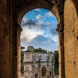 Arco di Costantino  by Gino Petrangelo - City,  Street & Park  Historic Districts ( clouds, roma, colosseum, arch, rome, roman )