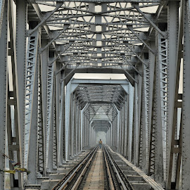 Inside Railway bridge by Uttam Das - Buildings & Architecture Bridges & Suspended Structures ( railroad, architecture, bridge, construction, people,  )