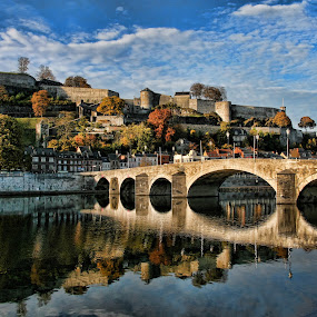 Namur by Dominic Jacob - Buildings & Architecture Public & Historical ( namur, reflection, meuse, citadel, belgium,  )